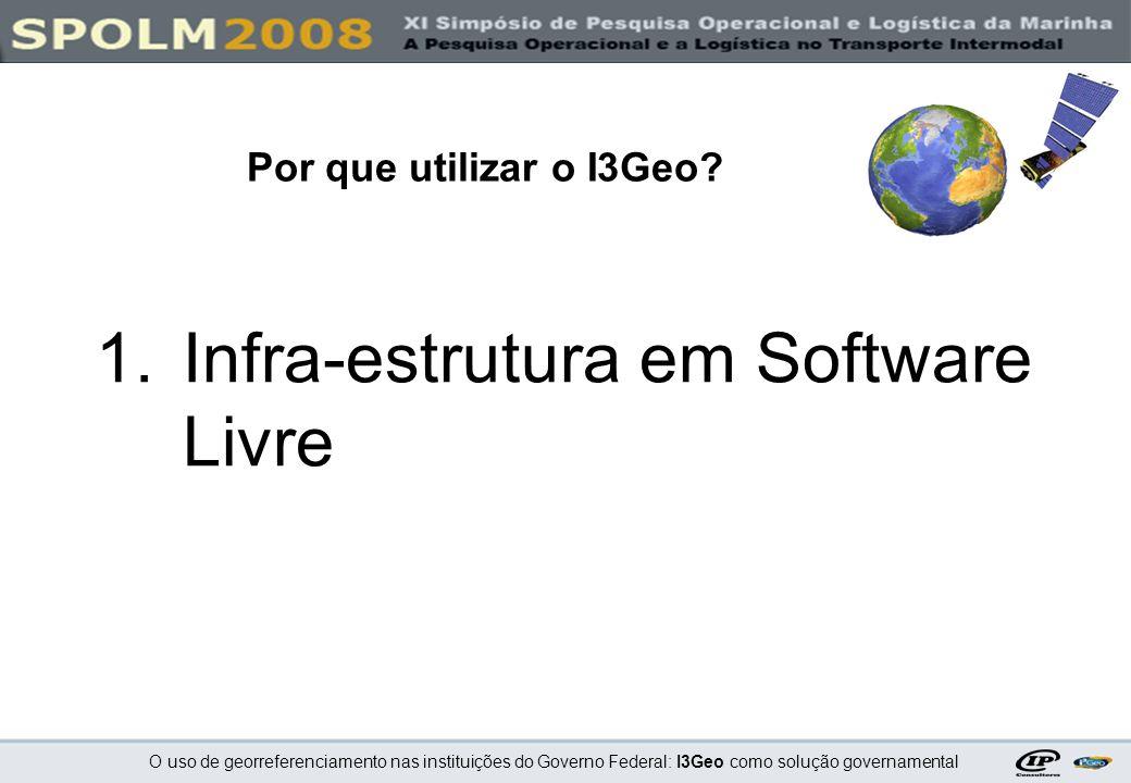 O uso de georreferenciamento nas instituições do Governo Federal: I3Geo como solução governamental 1.Infra-estrutura em Software Livre Por que utiliza