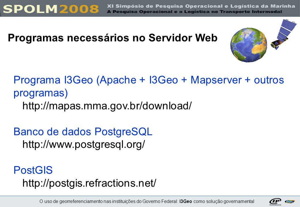 O uso de georreferenciamento nas instituições do Governo Federal: I3Geo como solução governamental Programa I3Geo (Apache + I3Geo + Mapserver + outros