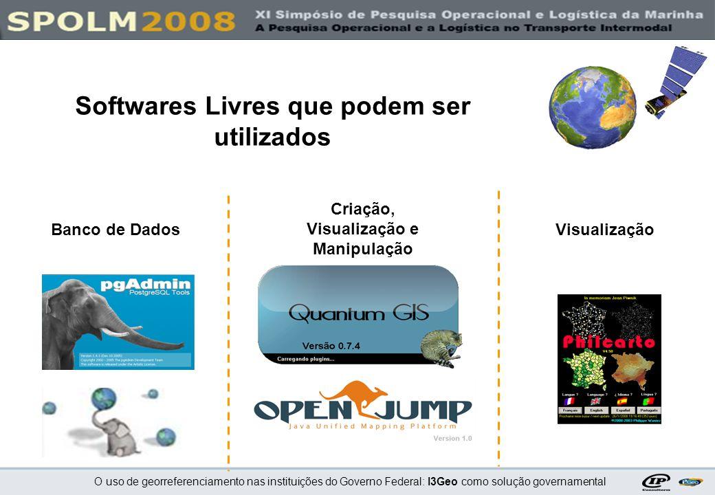 O uso de georreferenciamento nas instituições do Governo Federal: I3Geo como solução governamental Programa I3Geo (Apache + I3Geo + Mapserver + outros programas) http://mapas.mma.gov.br/download/ Banco de dados PostgreSQL http://www.postgresql.org/ PostGIS http://postgis.refractions.net/ Programas necessários no Servidor Web