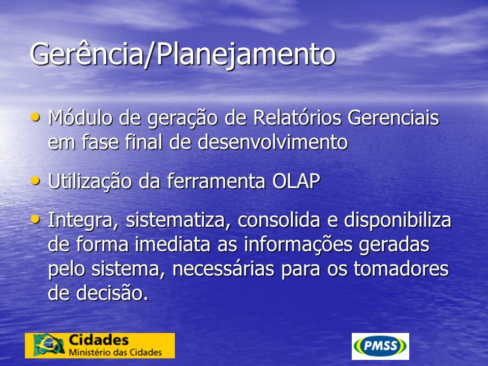 Gerência/Planejamento Módulo de geração de Relatórios Gerenciais em fase final de desenvolvimento Módulo de geração de Relatórios Gerenciais em fase f
