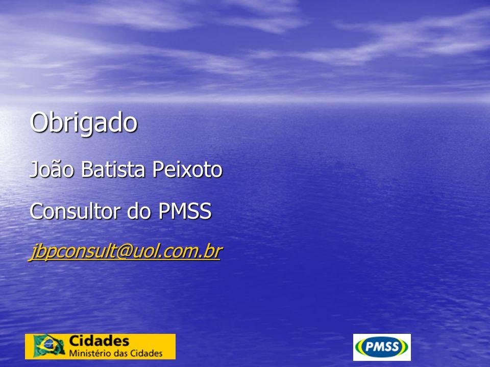 Obrigado João Batista Peixoto Consultor do PMSS jbpconsult@uol.com.br
