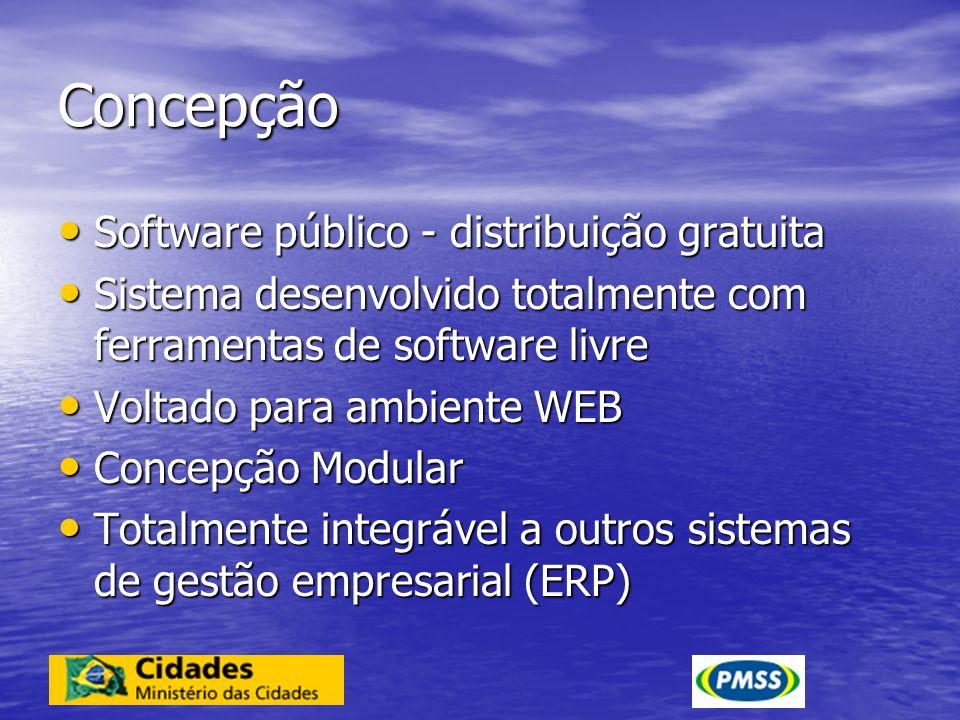 Concepção Opera em ambiente Windows ou Linux Opera em ambiente Windows ou Linux Tecnologia Java Tecnologia Java Compatível com diferentes gerenciadores de banco de dados relacionais – Postgres, Oracle, SQLServer, My SQL, etc Compatível com diferentes gerenciadores de banco de dados relacionais – Postgres, Oracle, SQLServer, My SQL, etc Autonomia dos usuários – operadores ou desenvolvedores - para atualizar e desenvolver novos módulos e aplicações