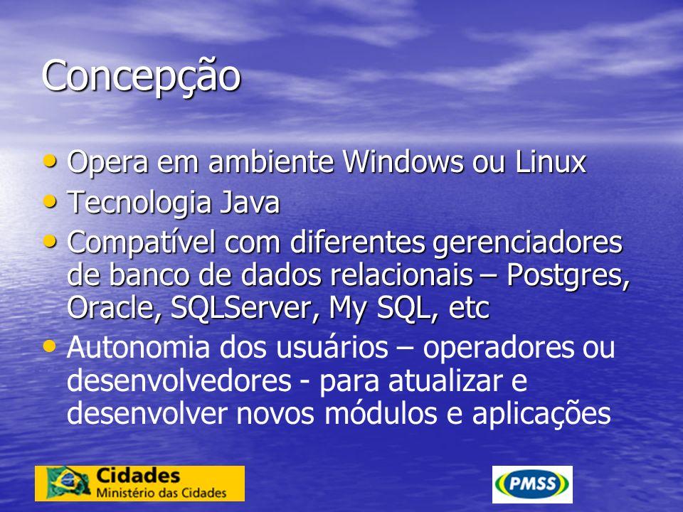 Concepção Opera em ambiente Windows ou Linux Opera em ambiente Windows ou Linux Tecnologia Java Tecnologia Java Compatível com diferentes gerenciadore