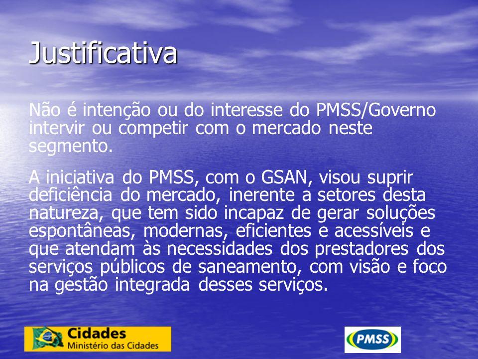Justificativa Não é intenção ou do interesse do PMSS/Governo intervir ou competir com o mercado neste segmento. A iniciativa do PMSS, com o GSAN, viso