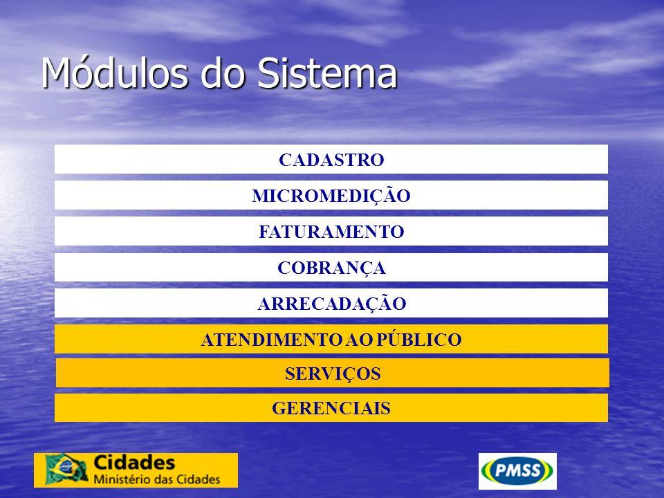 Módulos do Sistema CADASTRO MICROMEDIÇÃO FATURAMENTO COBRANÇA ARRECADAÇÃO ATENDIMENTO AO PÚBLICO GERENCIAIS SERVIÇOS