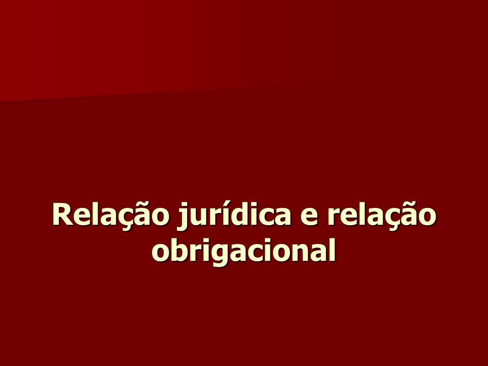 Relação jurídica e relação obrigacional