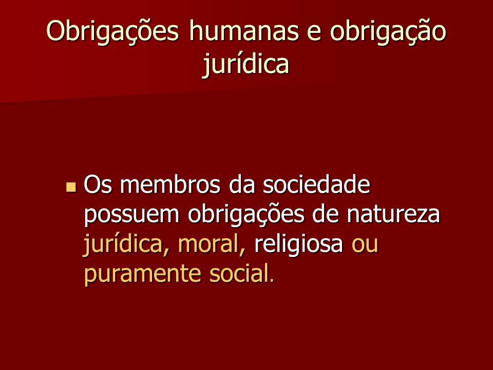 Obrigações humanas e obrigação jurídica Os membros da sociedade possuem obrigações de natureza jurídica, moral, religiosa ou puramente social. Os memb