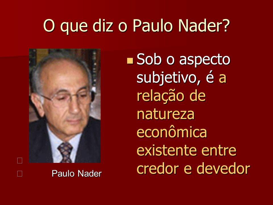 O que diz o Paulo Nader? Paulo Nader Paulo Nader Sob o aspecto subjetivo, é a relação de natureza econômica existente entre credor e devedor Sob o asp