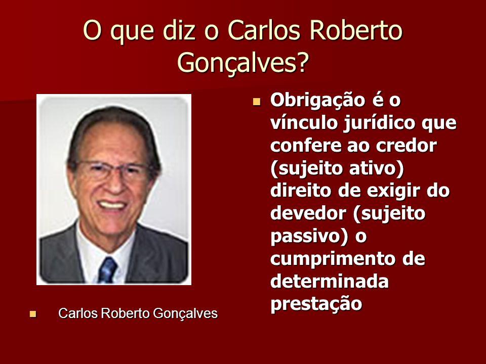 O que diz o Carlos Roberto Gonçalves? Carlos Roberto Gonçalves Carlos Roberto Gonçalves Obrigação é o vínculo jurídico que confere ao credor (sujeito