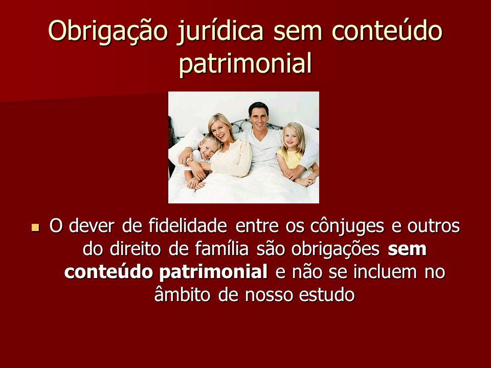 Obrigação jurídica sem conteúdo patrimonial O dever de fidelidade entre os cônjuges e outros do direito de família são obrigações sem conteúdo patrimo