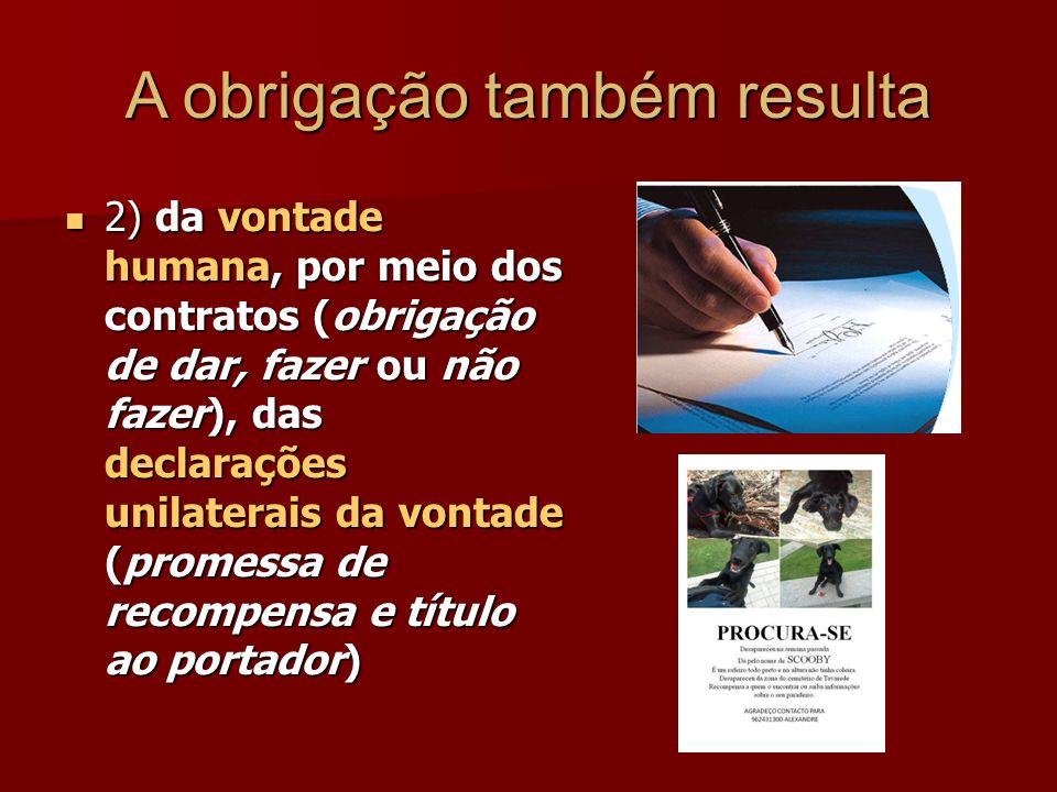 A obrigação também resulta 2) da vontade humana, por meio dos contratos (obrigação de dar, fazer ou não fazer), das declarações unilaterais da vontade