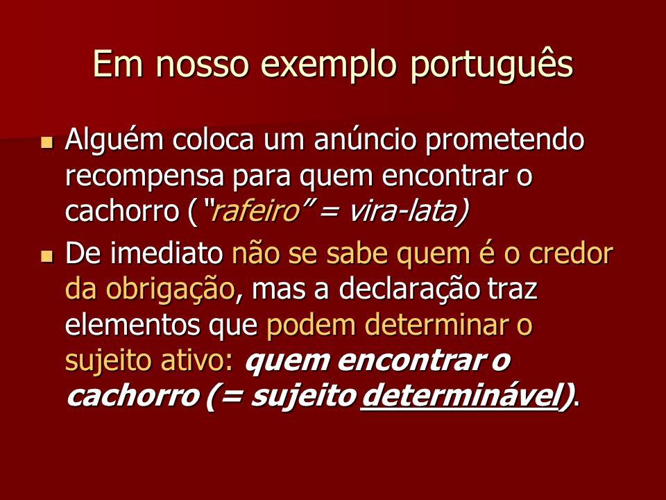 Em nosso exemplo português Alguém coloca um anúncio prometendo recompensa para quem encontrar o cachorro (rafeiro = vira-lata) Alguém coloca um anúnci