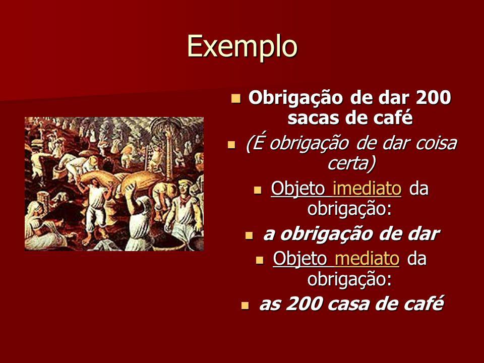Exemplo Obrigação de dar 200 sacas de café Obrigação de dar 200 sacas de café (É obrigação de dar coisa certa) (É obrigação de dar coisa certa) Objeto