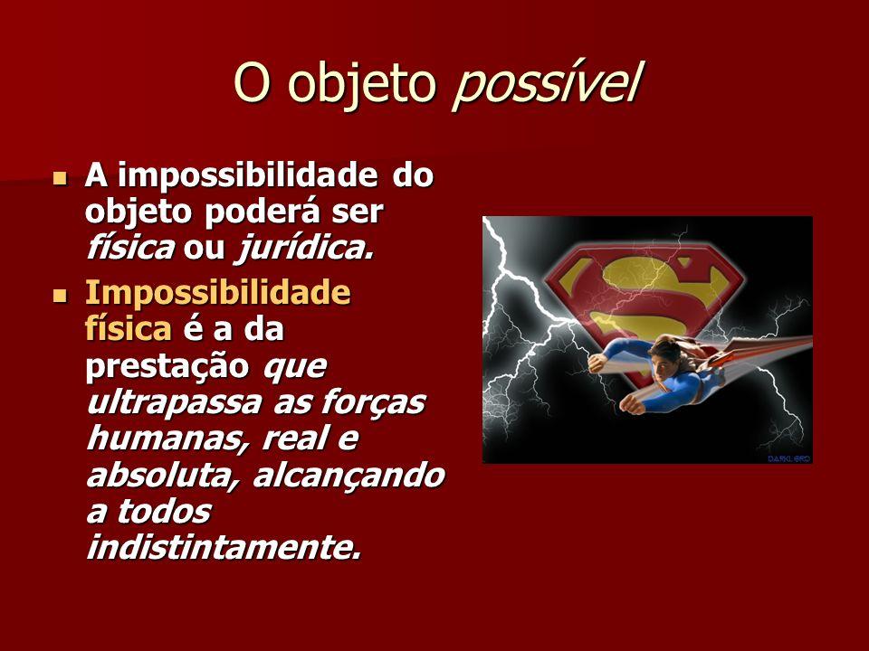 O objeto possível A impossibilidade do objeto poderá ser física ou jurídica. A impossibilidade do objeto poderá ser física ou jurídica. Impossibilidad
