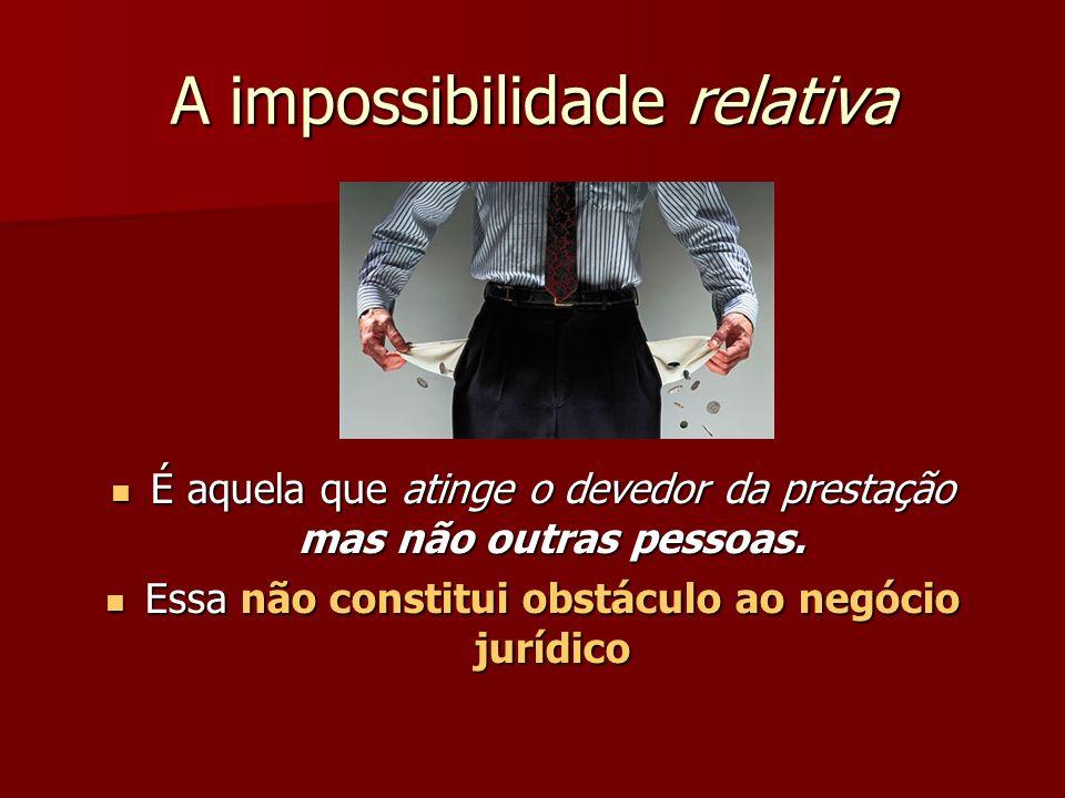 A impossibilidade relativa É aquela que atinge o devedor da prestação mas não outras pessoas. É aquela que atinge o devedor da prestação mas não outra