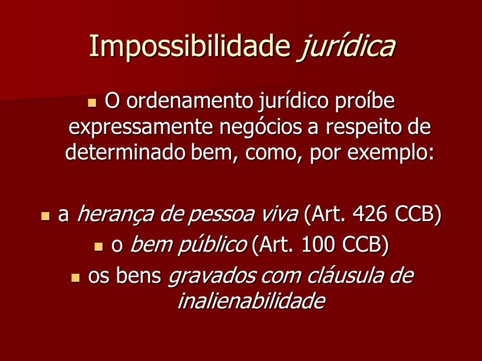 Impossibilidade jurídica O ordenamento jurídico proíbe expressamente negócios a respeito de determinado bem, como, por exemplo: O ordenamento jurídico