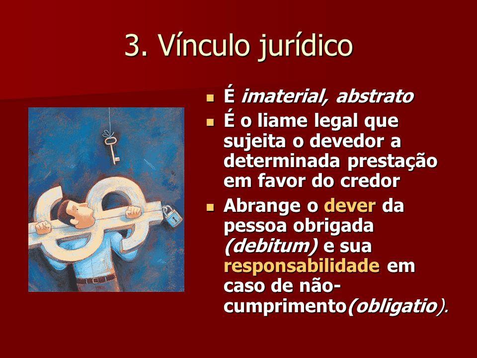 3. Vínculo jurídico É imaterial, abstrato É imaterial, abstrato É o liame legal que sujeita o devedor a determinada prestação em favor do credor É o l