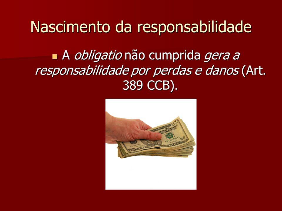 Nascimento da responsabilidade A obligatio não cumprida gera a responsabilidade por perdas e danos (Art. 389 CCB). A obligatio não cumprida gera a res