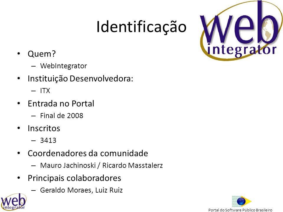 Identificação Quem? – WebIntegrator Instituição Desenvolvedora: – ITX Entrada no Portal – Final de 2008 Inscritos – 3413 Coordenadores da comunidade –