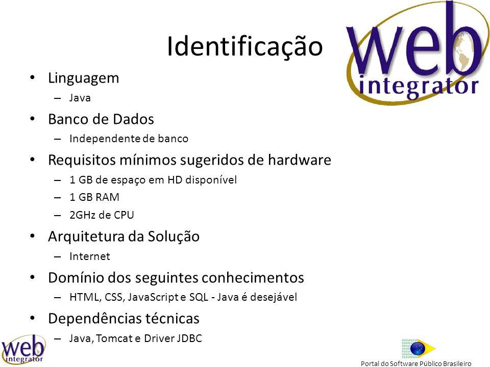 Portal do Software Público Brasileiro Identificação Linguagem – Java Banco de Dados – Independente de banco Requisitos mínimos sugeridos de hardware – 1 GB de espaço em HD disponível – 1 GB RAM – 2GHz de CPU Arquitetura da Solução – Internet Domínio dos seguintes conhecimentos – HTML, CSS, JavaScript e SQL - Java é desejável Dependências técnicas – Java, Tomcat e Driver JDBC