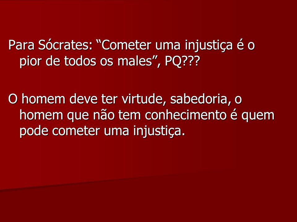 Para Sócrates: Cometer uma injustiça é o pior de todos os males, PQ??.
