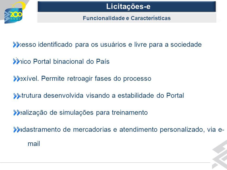 Diretoria de Governo Licitações-e Funcionalidade e Características Acesso identificado para os usuários e livre para a sociedade Único Portal binacion