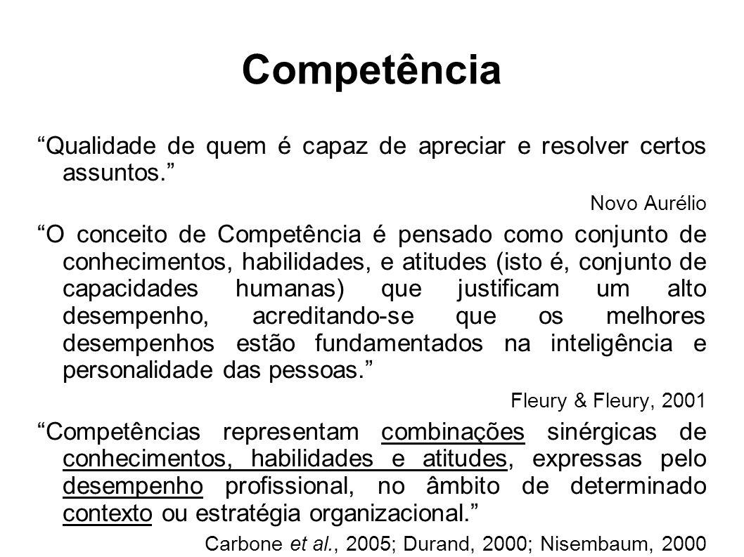 Competência Qualidade de quem é capaz de apreciar e resolver certos assuntos.