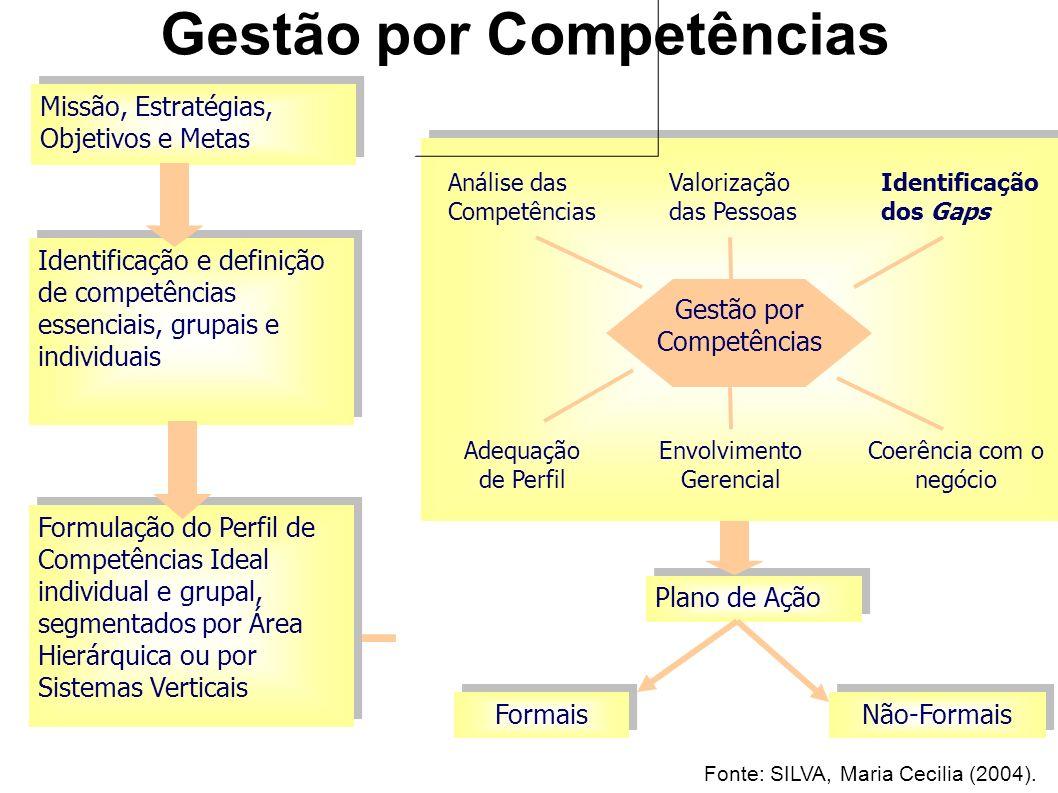 Missão, Estratégias, Objetivos e Metas Identificação e definição de competências essenciais, grupais e individuais Formulação do Perfil de Competências Ideal individual e grupal, segmentados por Área Hierárquica ou por Sistemas Verticais Gestão por Competências Análise das Competências Valorização das Pessoas Identificação dos Gaps Adequação de Perfil Envolvimento Gerencial Coerência com o negócio Plano de Ação Formais Não-Formais Fonte: SILVA, Maria Cecilia (2004).