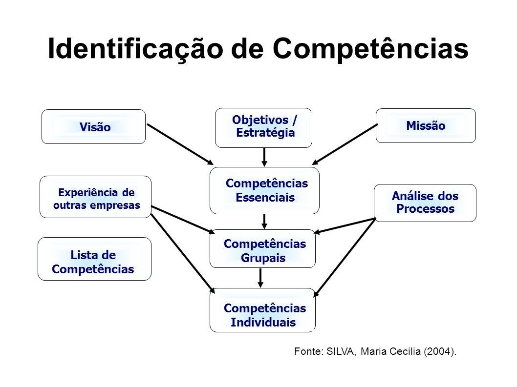Identificação de Competências Competências Essenciais Visão Missão Objetivos / Estratégia Competências Grupais Análise dos Processos Experiência de outras empresas Lista de Competências Competências Individuais Fonte: SILVA, Maria Cecilia (2004).