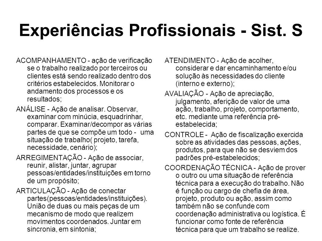 Experiências Profissionais - Sist.