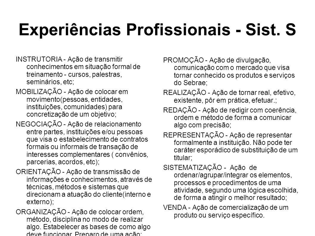 INSTRUTORIA - Ação de transmitir conhecimentos em situação formal de treinamento - cursos, palestras, seminários, etc; MOBILIZAÇÃO - Ação de colocar em movimento(pessoas, entidades, instituições, comunidades) para concretização de um objetivo; NEGOCIAÇÃO - Ação de relacionamento entre partes, instituições e/ou pessoas que visa o estabelecimento de contratos formais ou informais de transação de interesses complementares ( convênios, parcerias, acordos, etc); ORIENTAÇÃO - Ação de transmissão de informações e conhecimentos, através de técnicas, métodos e sistemas que direcionam a atuação do cliente(interno e externo); ORGANIZAÇÃO - Ação de colocar ordem, método, disciplina no modo de realizar algo.
