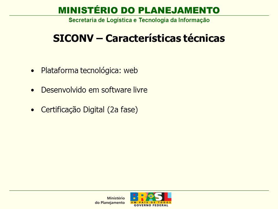 MINISTÉRIO DO PLANEJAMENTO Plataforma tecnológica: web Desenvolvido em software livre Certificação Digital (2a fase) SICONV – Características técnicas Secretaria de Logística e Tecnologia da Informação
