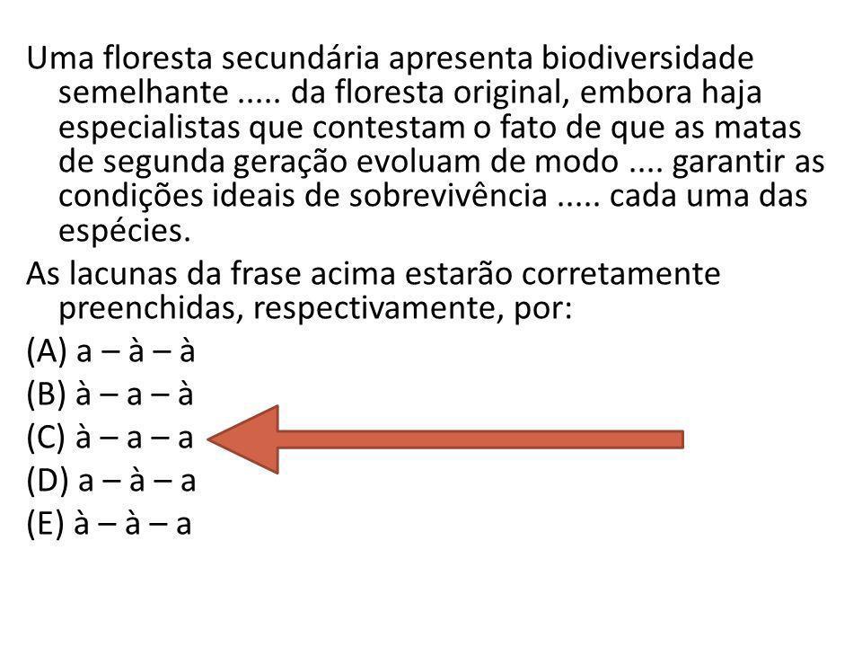 Uma floresta secundária apresenta biodiversidade semelhante..... da floresta original, embora haja especialistas que contestam o fato de que as matas