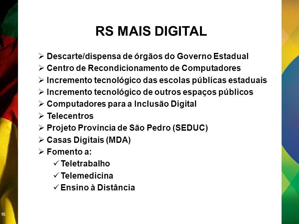 16 RS MAIS DIGITAL Descarte/dispensa de órgãos do Governo Estadual Centro de Recondicionamento de Computadores Incremento tecnológico das escolas públ