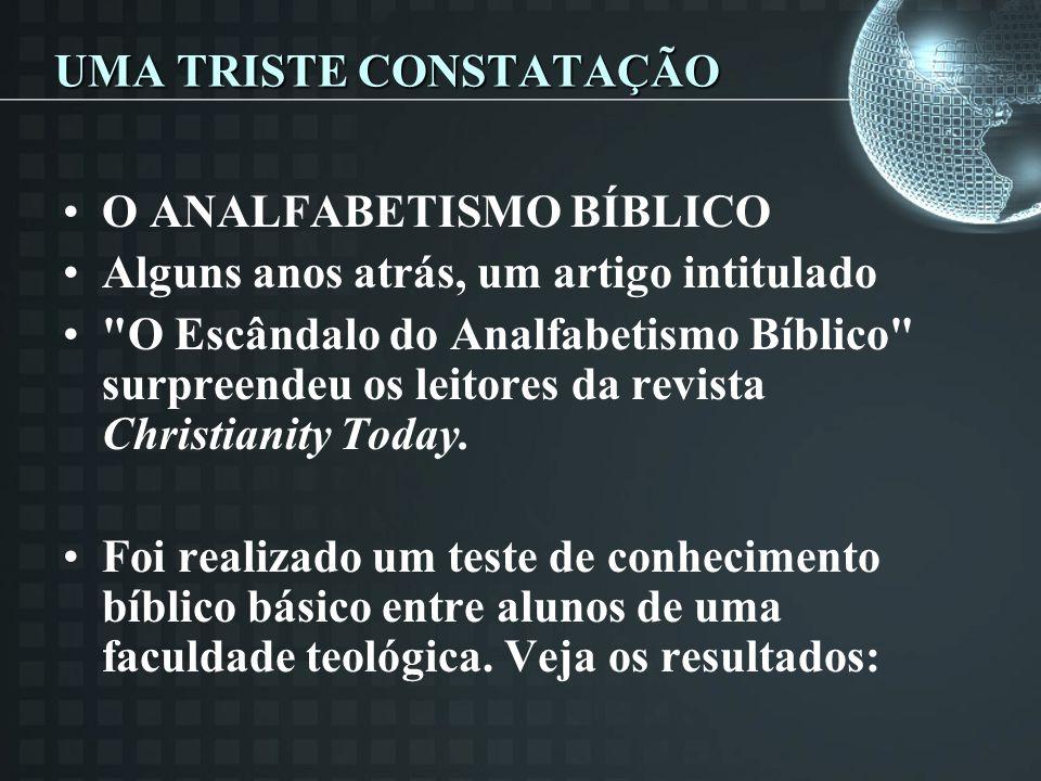 UMA TRISTE CONSTATAÇÃO O ANALFABETISMO BÍBLICO Alguns anos atrás, um artigo intitulado