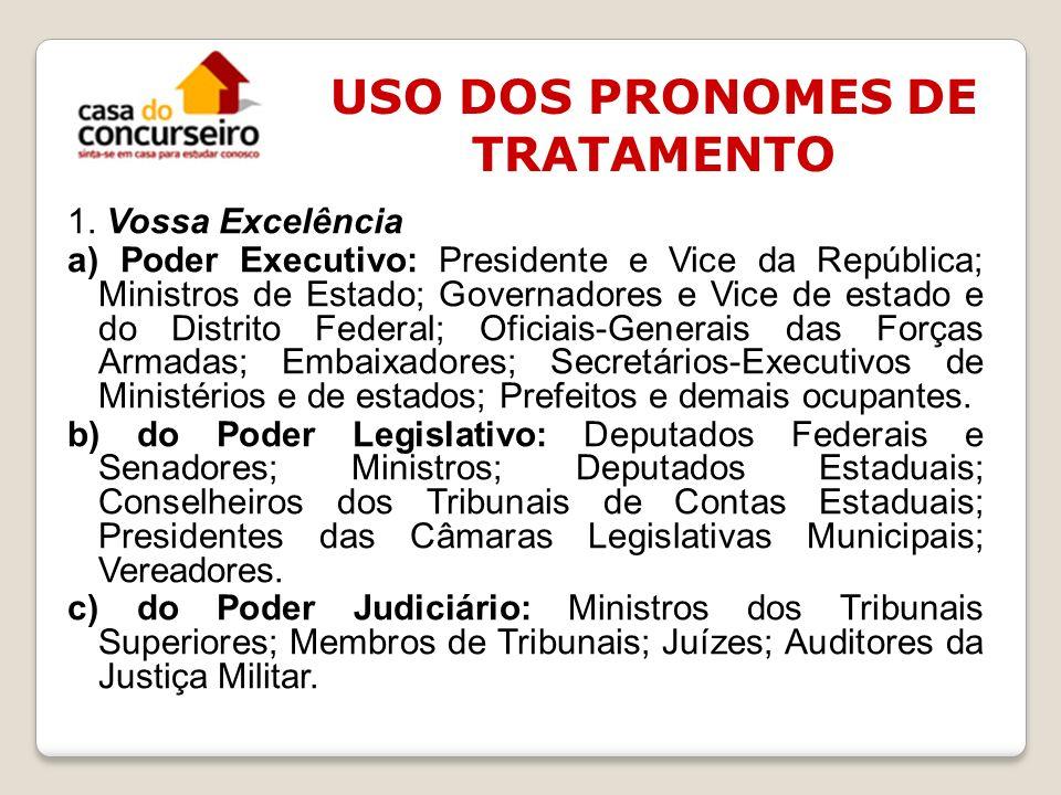 1. Vossa Excelência a) Poder Executivo: Presidente e Vice da República; Ministros de Estado; Governadores e Vice de estado e do Distrito Federal; Ofic