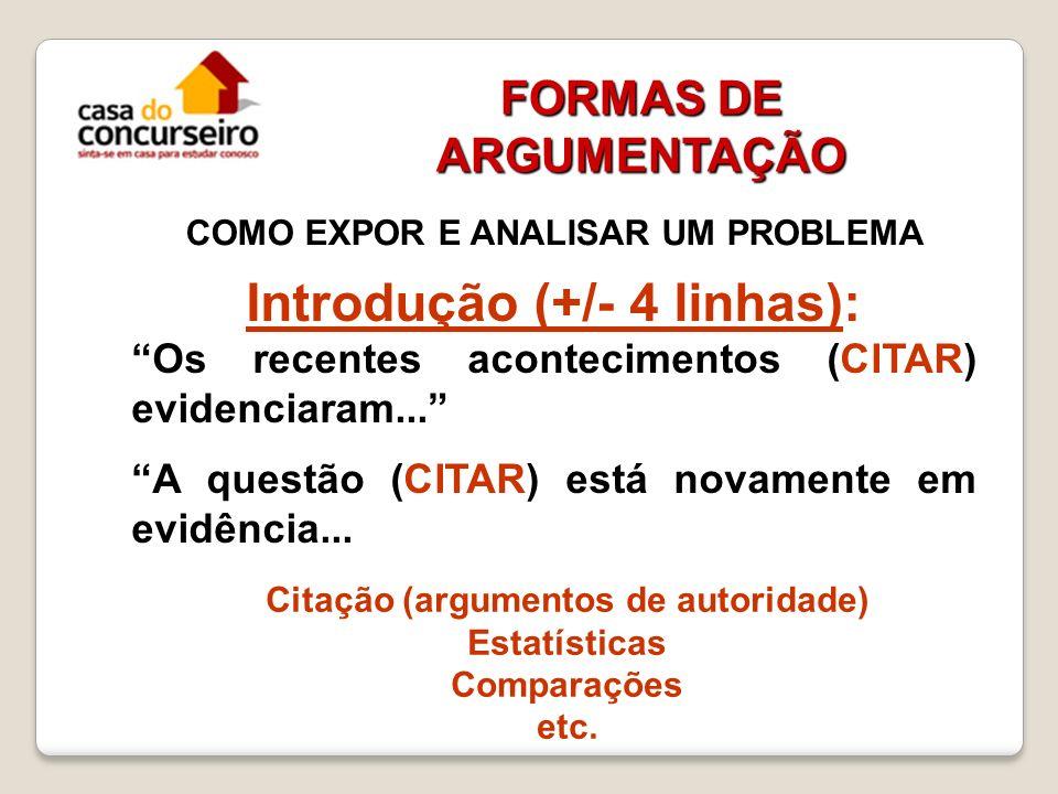 FORMAS DE ARGUMENTAÇÃO COMO EXPOR E ANALISAR UM PROBLEMA Introdução (+/- 4 linhas): Os recentes acontecimentos (CITAR) evidenciaram... A questão (CITA