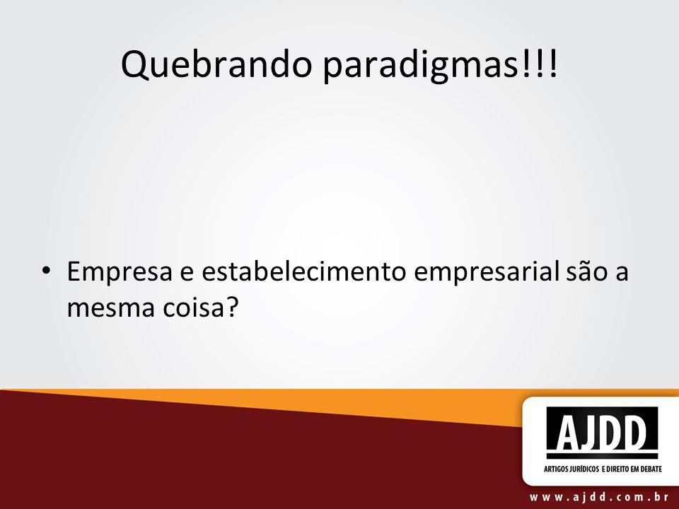 Quebrando paradigmas!!! Empresa e estabelecimento empresarial são a mesma coisa?