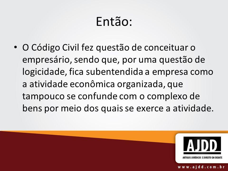 Então: O Código Civil fez questão de conceituar o empresário, sendo que, por uma questão de logicidade, fica subentendida a empresa como a atividade e