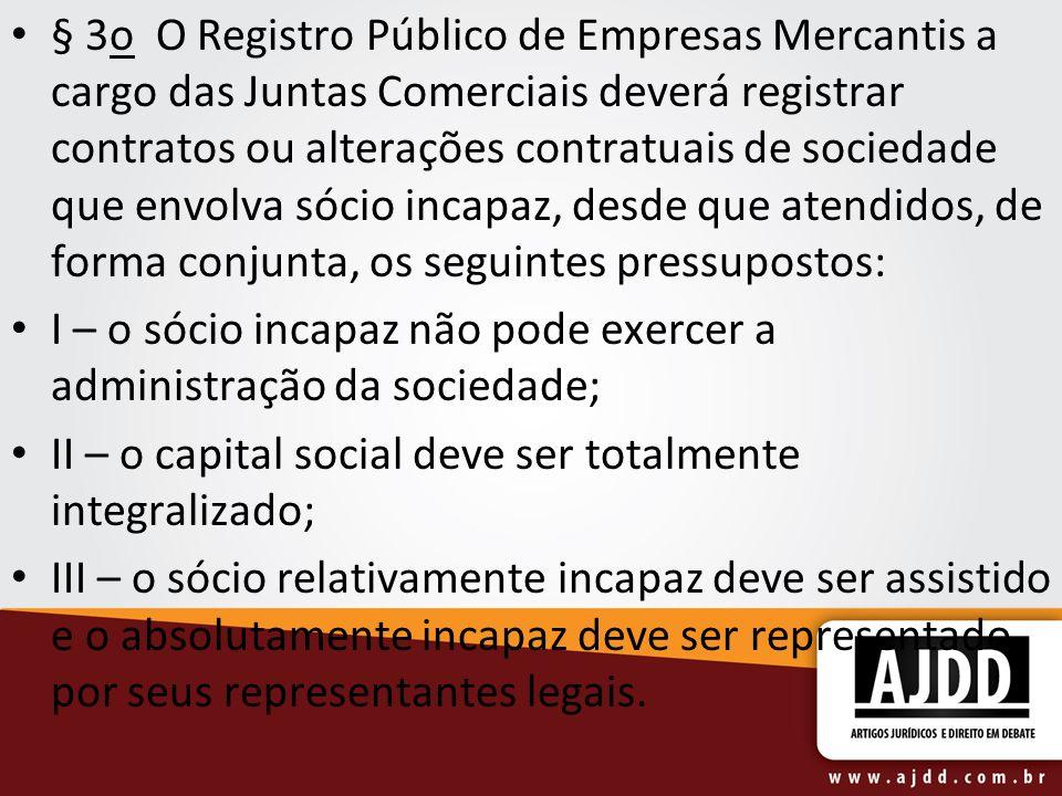 § 3o O Registro Público de Empresas Mercantis a cargo das Juntas Comerciais deverá registrar contratos ou alterações contratuais de sociedade que envo