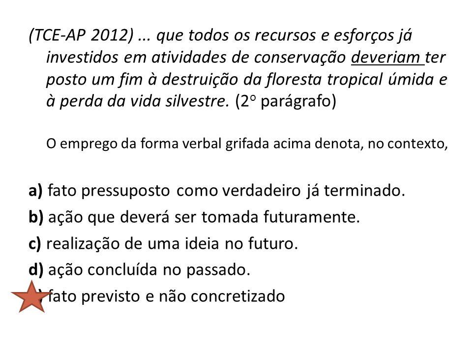 (TCE-AP 2012)... que todos os recursos e esforços já investidos em atividades de conservação deveriam ter posto um fim à destruição da floresta tropic