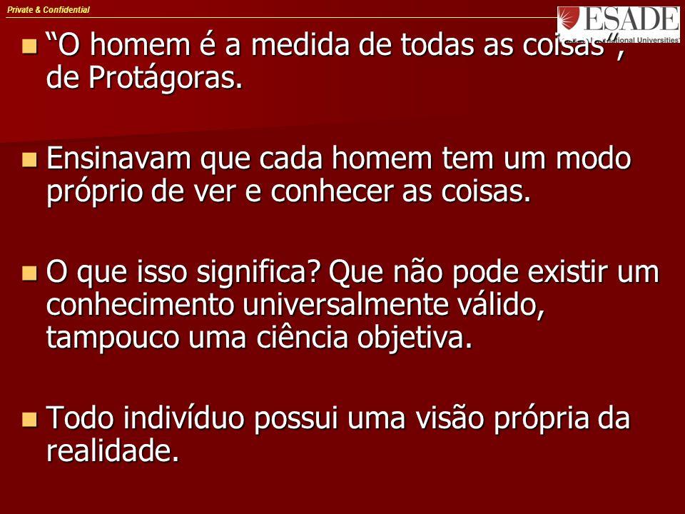 Private & Confidential O homem é a medida de todas as coisas, de Protágoras. O homem é a medida de todas as coisas, de Protágoras. Ensinavam que cada