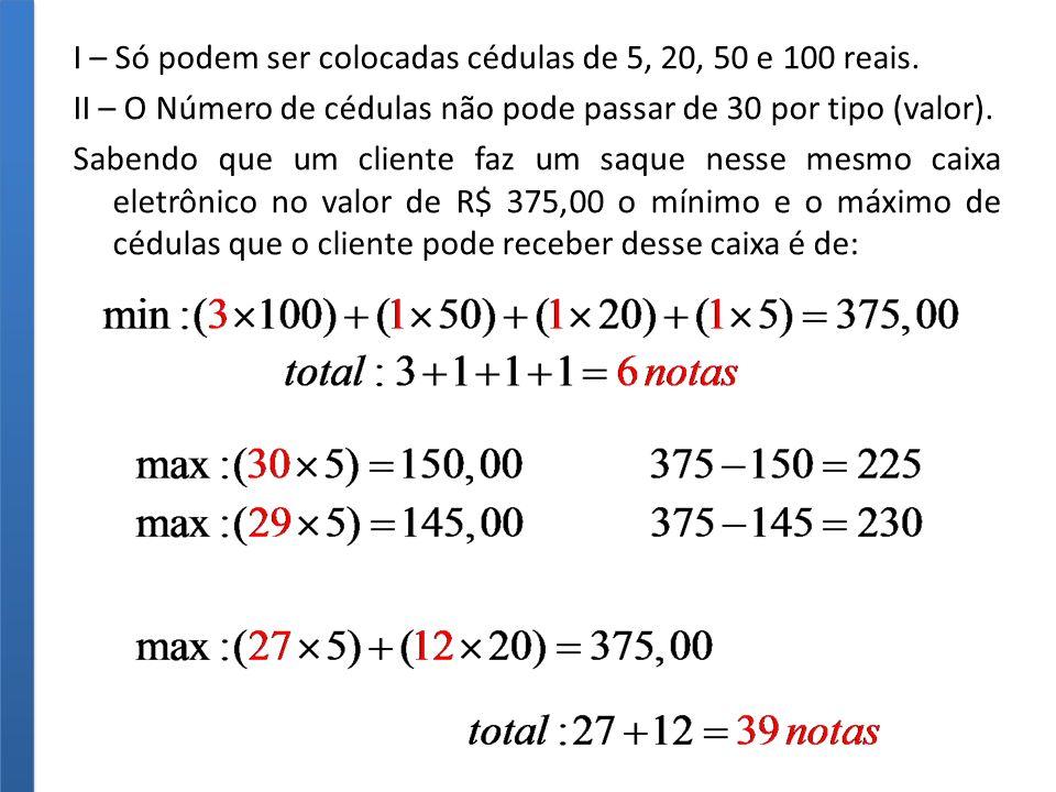 I – Só podem ser colocadas cédulas de 5, 20, 50 e 100 reais.