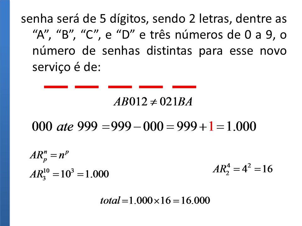 senha será de 5 dígitos, sendo 2 letras, dentre as A, B, C, e D e três números de 0 a 9, o número de senhas distintas para esse novo serviço é de: