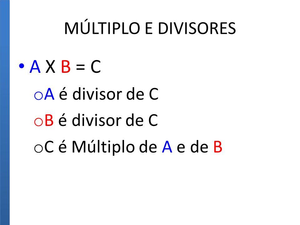 MÚLTIPLO E DIVISORES A X B = C o A é divisor de C o B é divisor de C o C é Múltiplo de A e de B