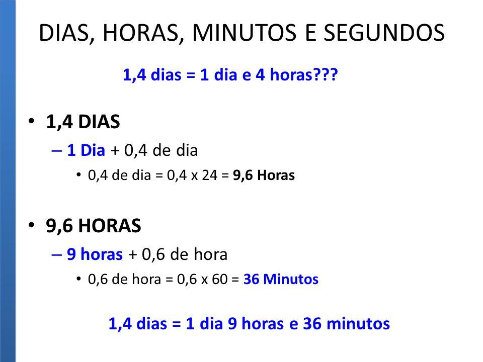 DIAS, HORAS, MINUTOS E SEGUNDOS 1,4 DIAS – 1 Dia + 0,4 de dia 0,4 de dia = 0,4 x 24 = 9,6 Horas 9,6 HORAS – 9 horas + 0,6 de hora 0,6 de hora = 0,6 x 60 = 36 Minutos 1,4 dias = 1 dia e 4 horas??.
