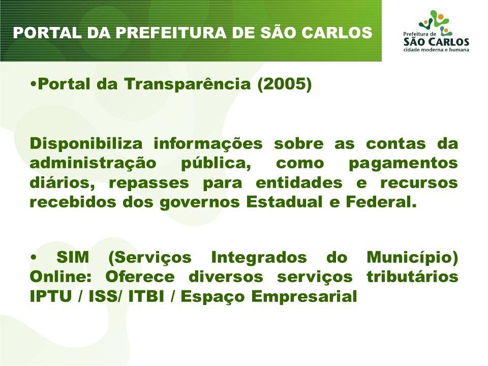Portal da Transparência (2005) Disponibiliza informações sobre as contas da administração pública, como pagamentos diários, repasses para entidades e recursos recebidos dos governos Estadual e Federal.