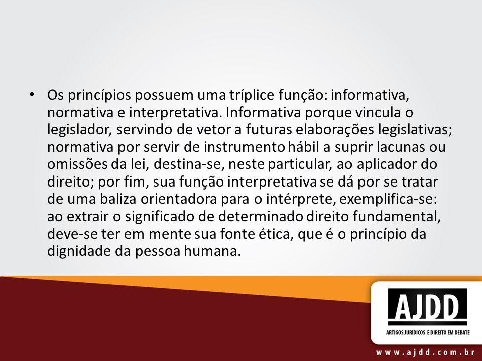 Os princípios possuem uma tríplice função: informativa, normativa e interpretativa. Informativa porque vincula o legislador, servindo de vetor a futur