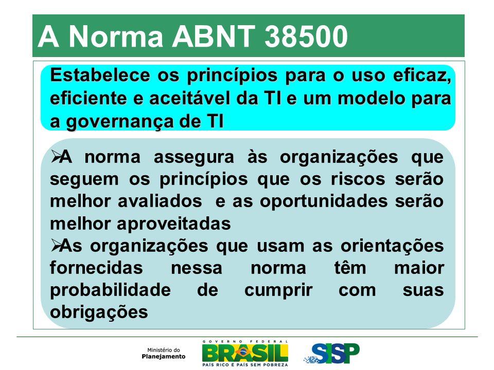 A Norma ABNT 38500 Estabelece os princípios para o uso eficaz, eficiente e aceitável da TI e um modelo para a governança de TI A norma assegura às org