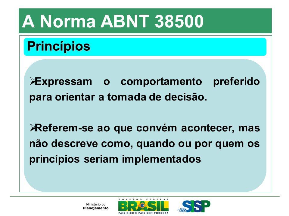 A Norma ABNT 38500 Princípios Expressam o comportamento preferido para orientar a tomada de decisão. Referem-se ao que convém acontecer, mas não descr